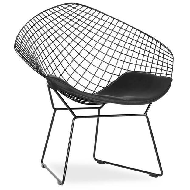 Druciany Fotel Metalowy Olivier Czarny Insp Wire Chair Sklep