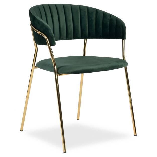 Krzesło Tamara Zielony Aksamit Złote Nogi