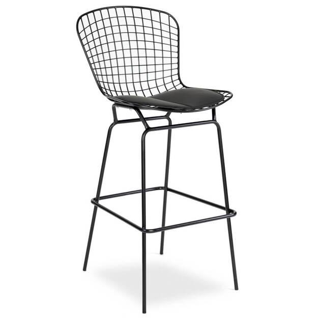Metalowe Krzesło Barowe Filip Czarne Insp Wire Chair Sklep