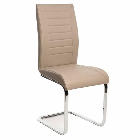Brązowe krzesło na chromowanych płozach