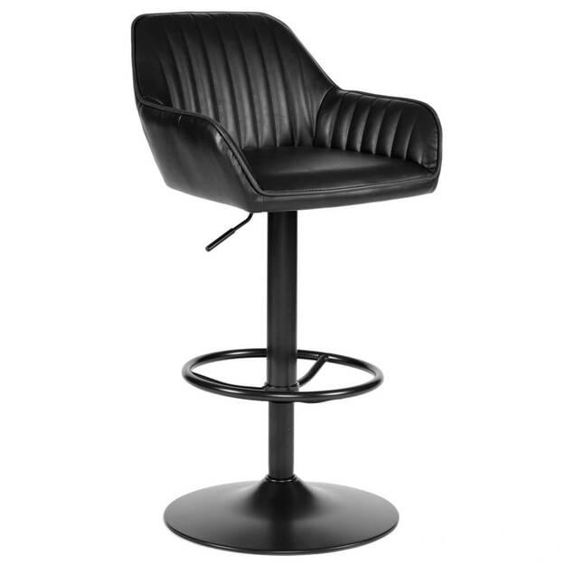 Ciemne krzesło barowe z czarną podstawą